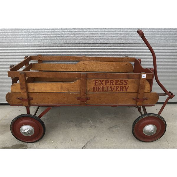 EXPRESS DELIVERY - WOODEN WAGON - 19 X 22 X 40 INCHES
