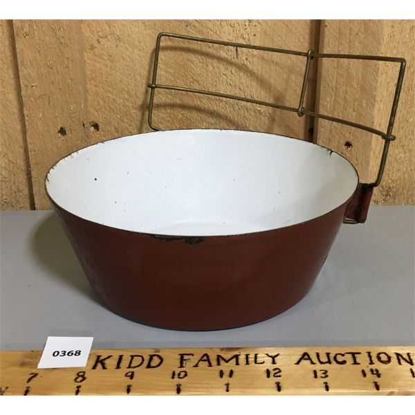 RED ENAMEL BOWL W/ ATTACHED RACK