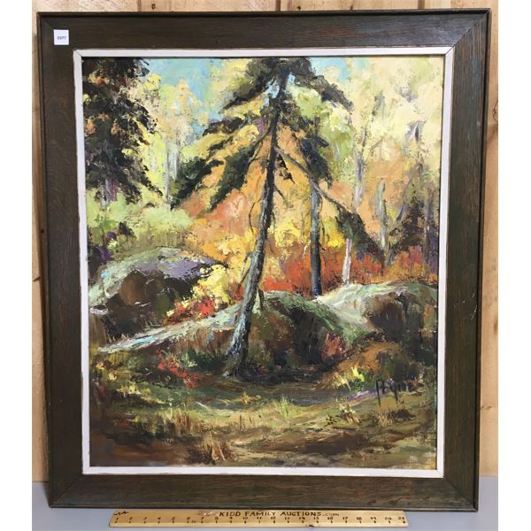 FRAMED PAYNE OIL PAINTING ON CANVAS - 31 X 35 INCHES