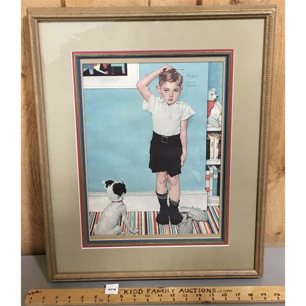FRAMED NORMAN ROCKWELL PRINT - 18 X 22 INCHES