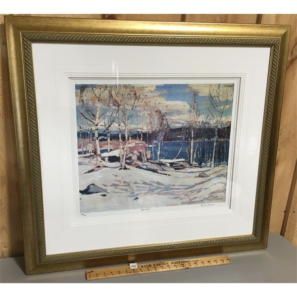 """FRAMED TOM THOMSON REPRINT - """"LATE SNOW"""" - 255/777 - 32 X 36 INCHES"""