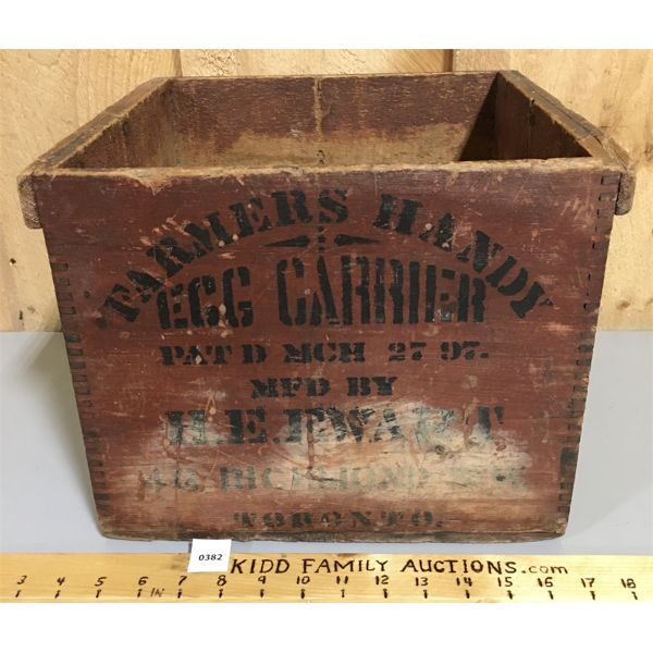 WOODEN EGG CARRIER - FROM GUELPH ONTARIO