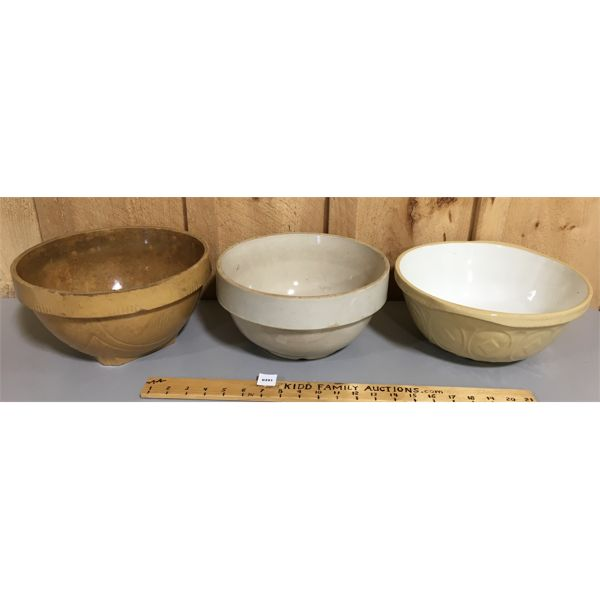 LOT OF 3 - CERAMIC MIXING BOWLS - ONE MARKED GREEN'S LONDON