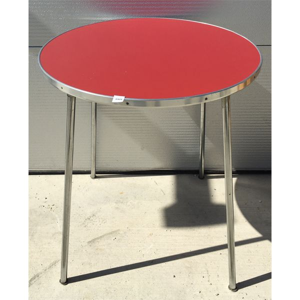 RED TOPPED CHROME TABLE - 26 X 32 INCHES