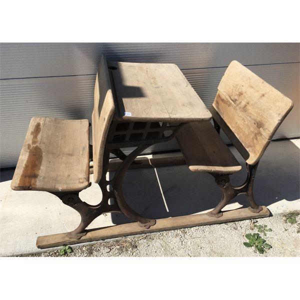 405 - CAST IRON 2 SEAT SCHOOL DESK