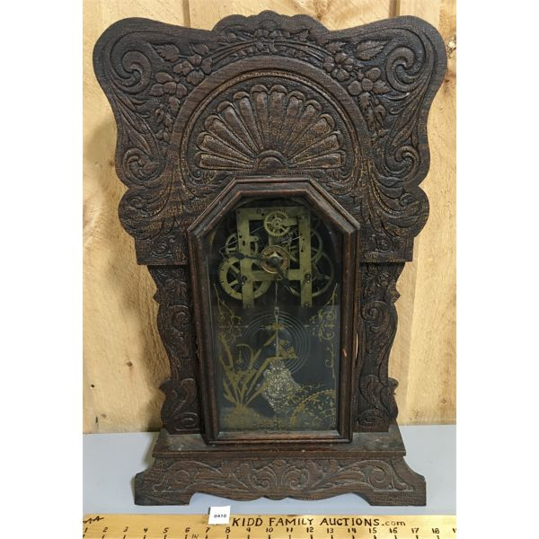 GINGERBREAD MANTLE CLOCK - 23 INCHES TALL
