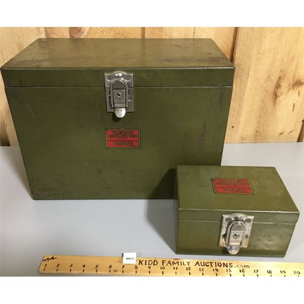 LOT OF 2 - FIREPROOF DOCUMENT BOXES - TORONTO PATENT - 10 X 14 X 18 INCHES