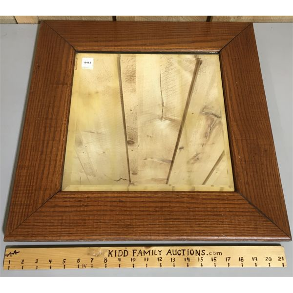 WOOD FRAMED MIRROR - 21 X 21 INCHES