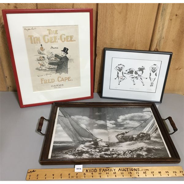 LOT OF 3 - NAUTICAL SERVING TRAY - FRAMED SONGBOOK - COW PRINT