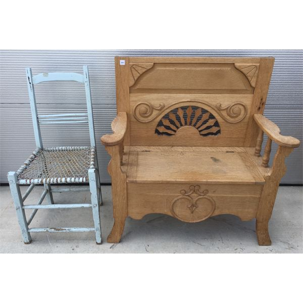 LOT OF 2 -WOODEN TRUNK BENCH - ANTIQUE RUSH CHAIR - 15 X 34 X 39 INCHES