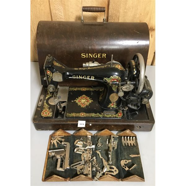 LOT OF 2 - SINGER SEWING MACHINE - BOX OF SEWING ATTACHMENTS