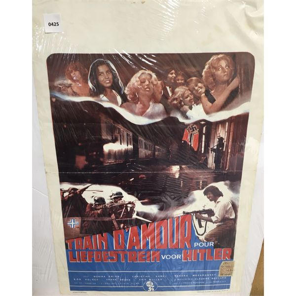 VINTAGE FRENCH MOVIE POSTER ON FOAMCORE - 14 X 22 INCHES