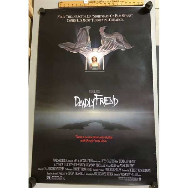 LOT OF 2 - 1986 - DEADLY FRIEND MOVIE POSTERS - 25 X 40 INCHES