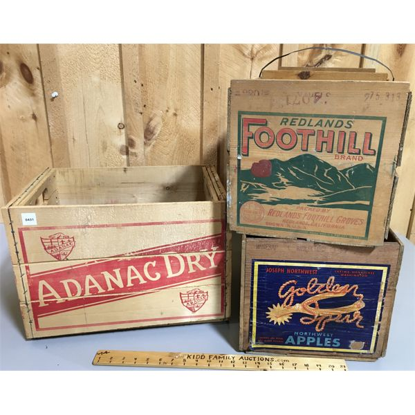 LOT OF 3 - BEVERAGE AND FRUIT CRATES