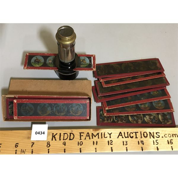 BOX OF GLASS CARTOON SLIDES W/ MAGNIFYING VIEWER