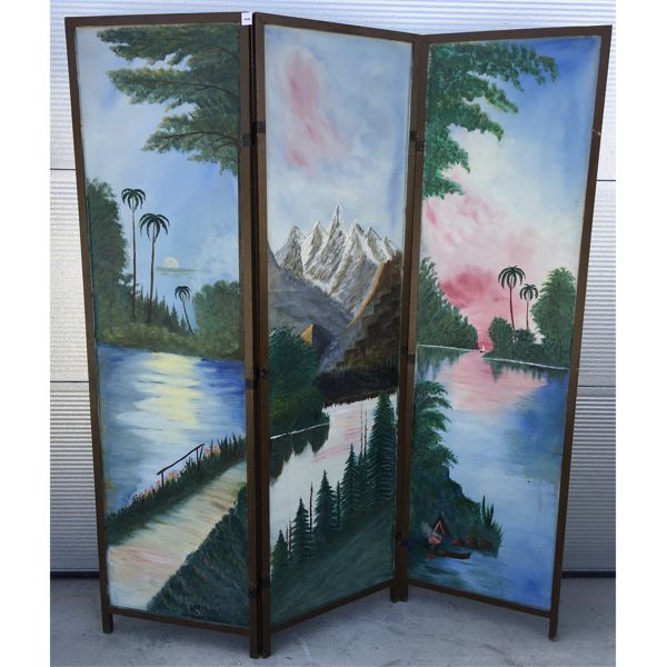 PAINTED SCREEN ROOM DIVIDER - 54 X 64 INCHES