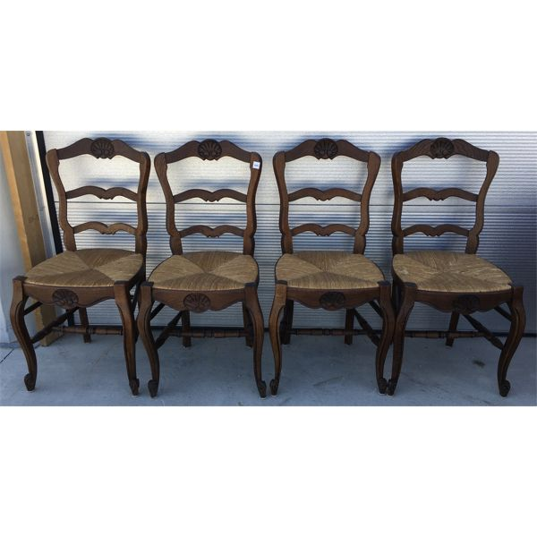 LOT OF 4 - ANTIQUE RUSH SEAT CHAIRS