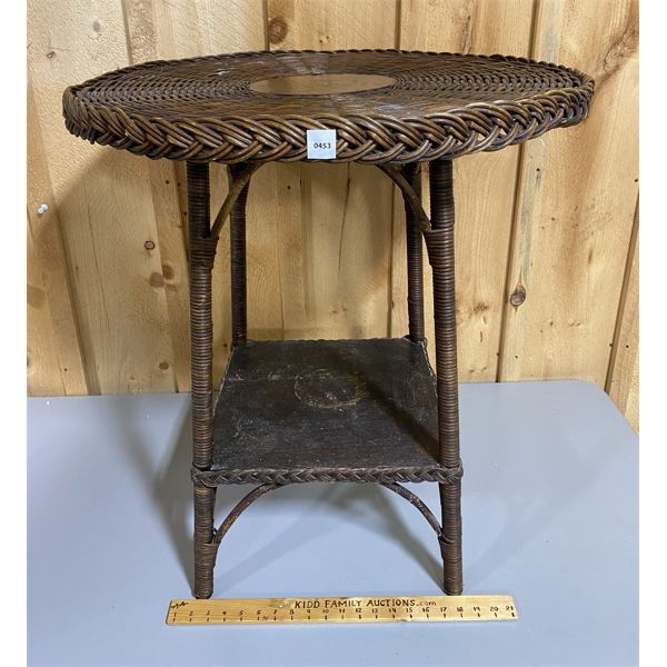 ANTIQUE WICKER / WOOD PARLOUR TABLE - 27 INCH DIAMETER X 30 INCHES HIGH