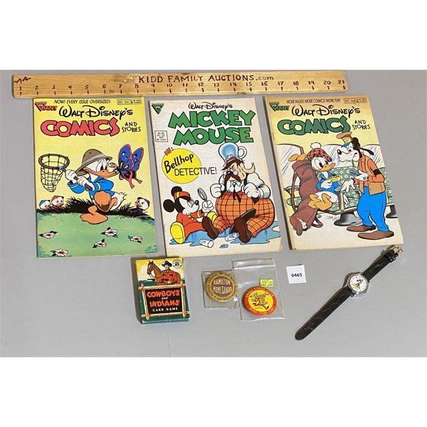 JOB LOT - 3 X WALT DISNEY COMICS, MICKEY MOUSE WATCH, 1903 & 1955 CLUB PINS & PLAYING CARDS
