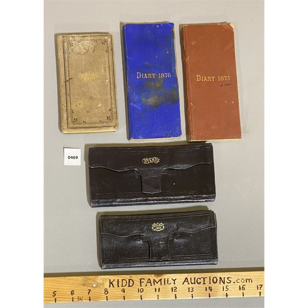 LOT OF 5 - LEATHER BOUND LATE 1800's DIARIES WITH CONTENT.