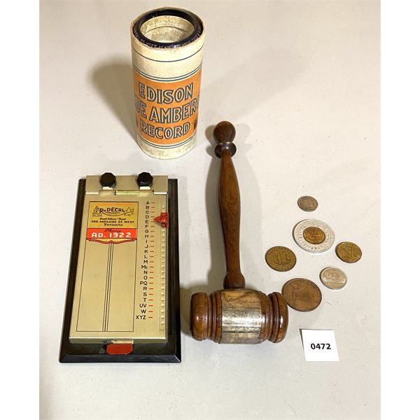 COLLECTIBLES LOT - PHONE DIRECTORY, SILVER 1965 GAVEL TROPHY, EDISON ROLL, MISC COINS