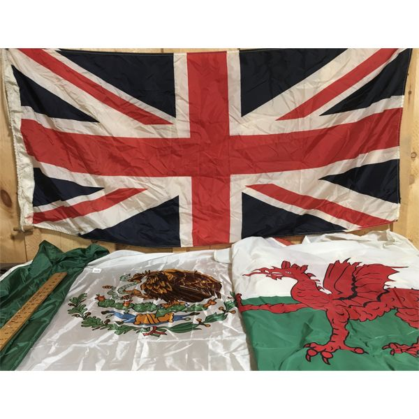 LOT OF 3 - SILK FLAGS - BRITAIN, MEXICO, WALES - APPROX 2 X 4 FOOT +