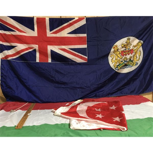 LOT OF 5 - SILK/COTTON FLAGS - HONG KONG, SINGAPORE, HUNGARY, FINLAND, CONGO - APPROX 34 X 72 INCH