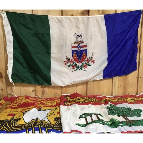 LOT OF 3 - PROVINCIAL FLAGS - PEI, YUKON, NEW BRUNSWICK - APPROX 2 X 4 FOOT