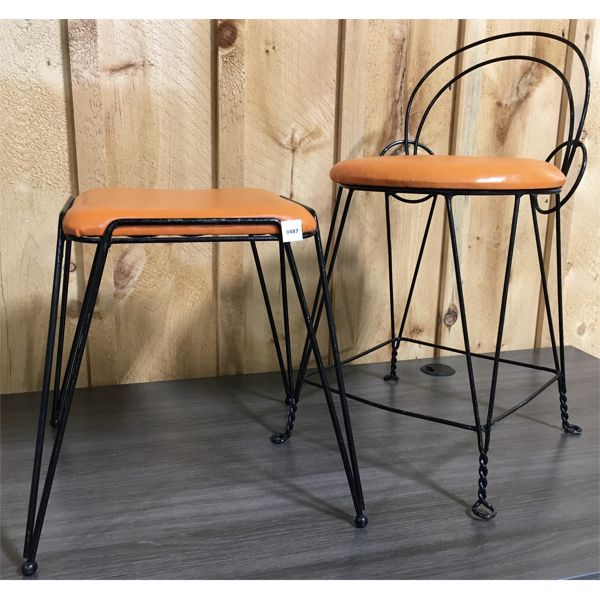 LOT OF 2 - VINTAGE WROUGHT IRON CHAIR & STOOL SET - 26 INCHES