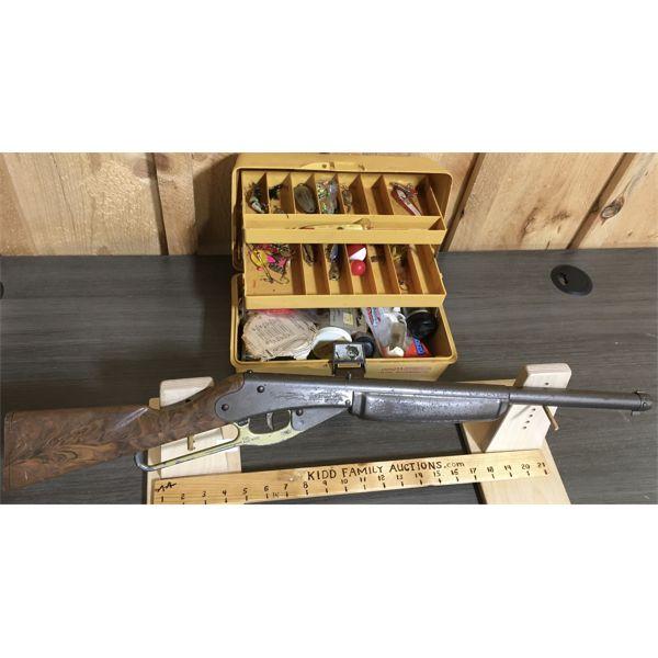 LOT OF 2 - VINTAGE DAISY 'POP' GUN & TACKLE BOX W/ CONTENTS