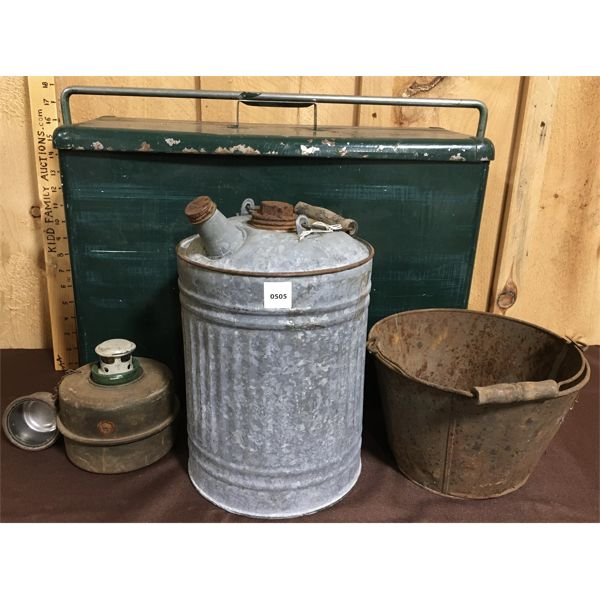 LOT OF 4 - COOLER, FUEL CAN, PAIL & HEATER