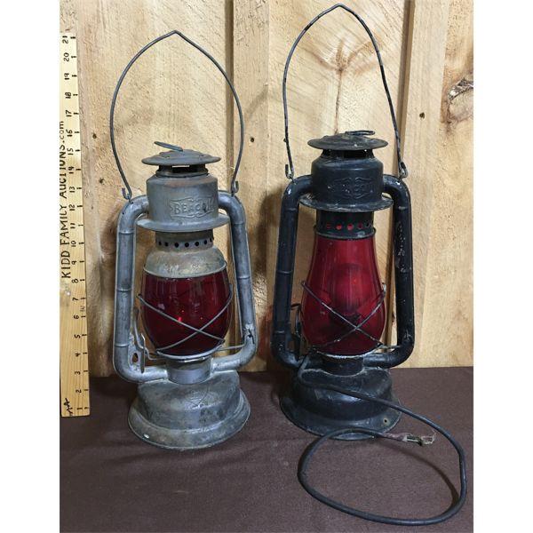 LOT OF 2 - GSW BEACON RED GLASS LANTERNS