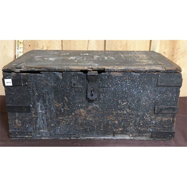 ANTIQUE CAST & WOOD SERVICE TRUNK  - 12 X 14 X 26 INCHES