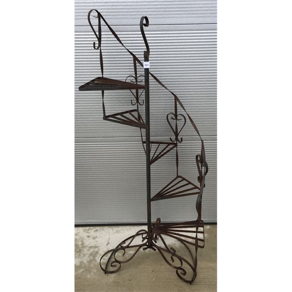 VINTAGE WROUGHT IRON CIRCULAR STAIRCASE - PLANT STAND
