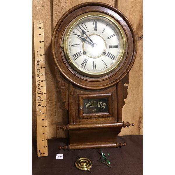 REGULATOR CLOCK W/ KEY & PENDULUM - 24 INCHES