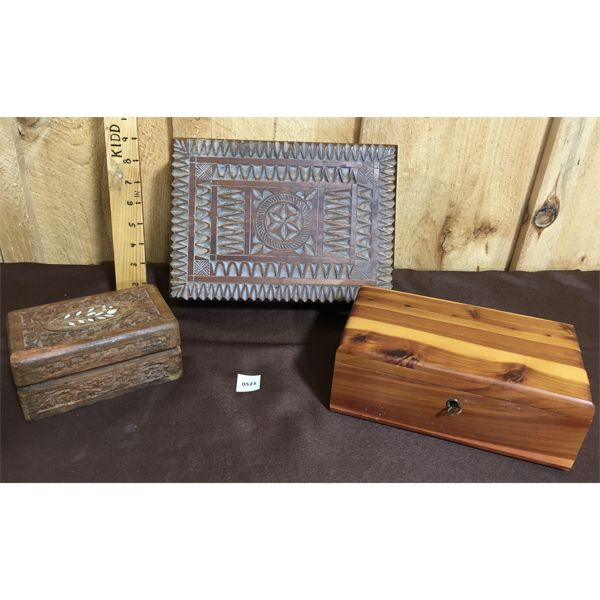 LOT OF 3 - WOOD CARVED JEWELRY BOXES - LARGEST IS 11 INCHES