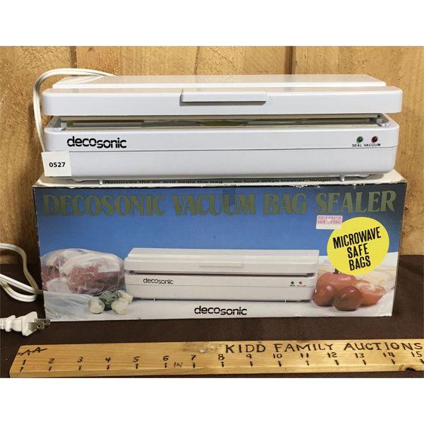 DECOSONIC VACUUM BAG SEALER W/ ORIG BOX & MANUALS