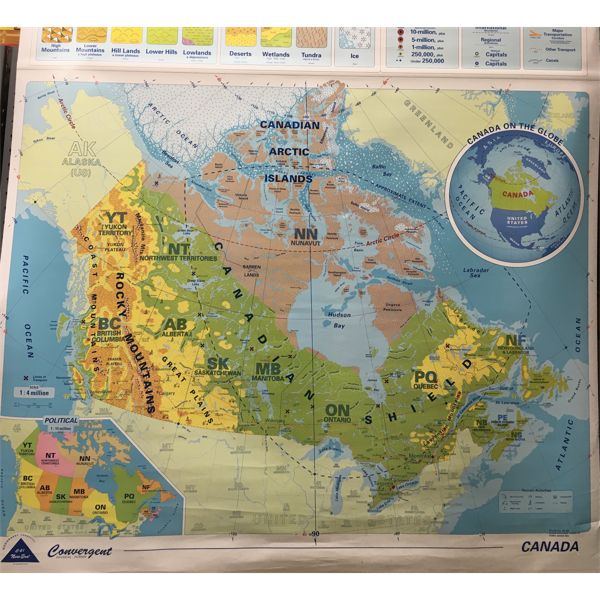LOT OF 2 - CLASSROOM MAPS - APPROX 63 INCHES