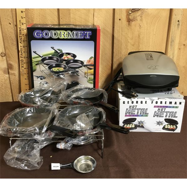 LOT OF 2 - FONDUE PAN SET & GEORGE FOREMAN GRILL