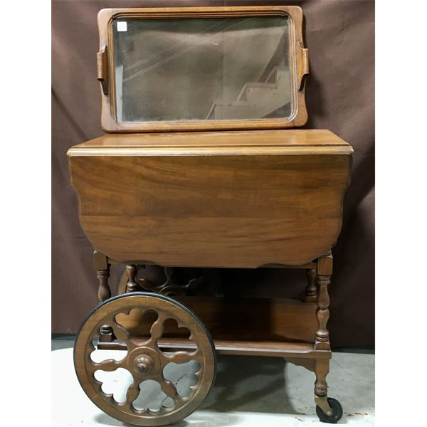 ANTIQUE TEA WAGON W/ TRAY, LEAVES, PUSH HANDLE - 16 X 24 X 28 INCHES