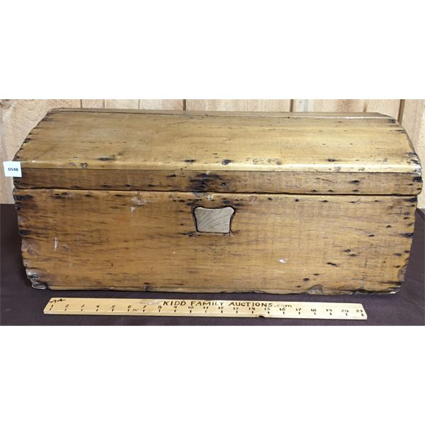 ANTIQUE WOODEN DOME TOP TRUNK