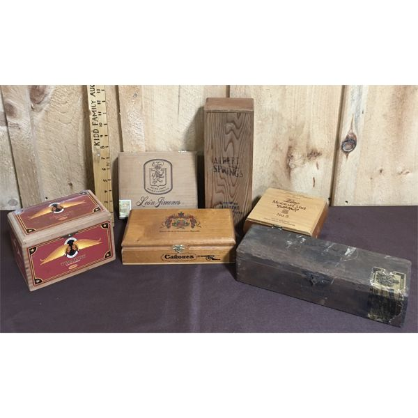 JOB LOT OF WOODEN WHISKEY AND CIGAR BOXES