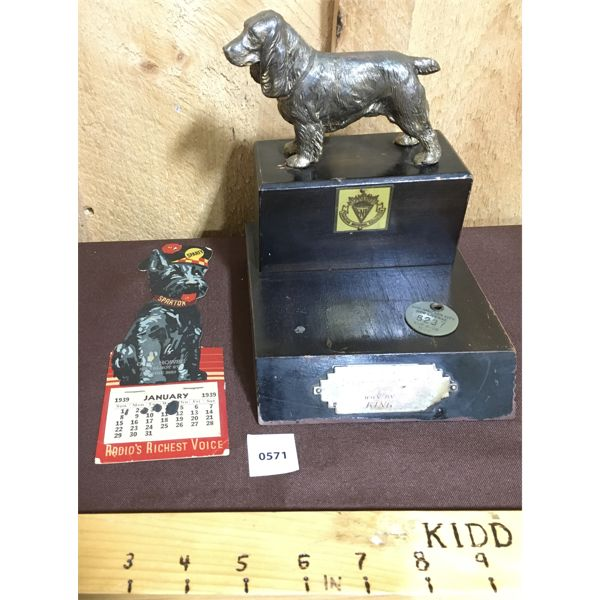LOT OF 3 - CNE DOG TROPHY, CALENDAR AND TAG