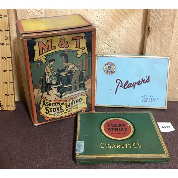 LOT OF 3 - ANTIQUE STOVE LINING BOX AND TOBACCO TINS
