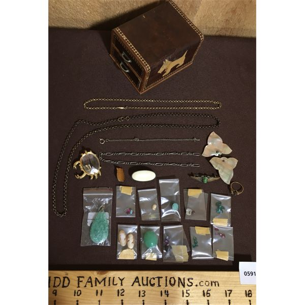 JOB LOT - QTY OF JEWELRY AND REPAIR STONES ECT.