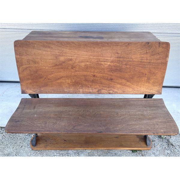 CAST IRON BENCH SEAT SCHOOL DESK - MARKED SNIDER WATERLOO