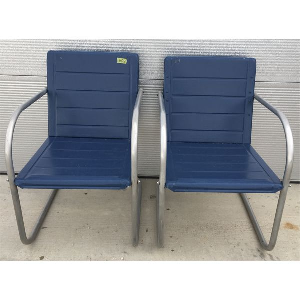 LOT OF 2 - MID-CENTURY BLUE METAL DECK CHAIRS