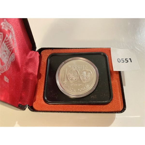 1974 RCM PROOF SILVER DOLLAR IN DISPLAY CASE
