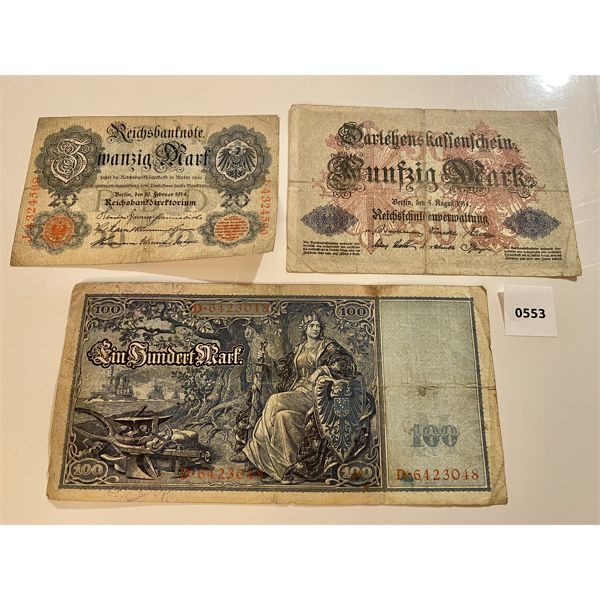 LOT OF 3 - PRE WWI GERMAN MARKS - 20, 50 & 100 DENOMINATIONS