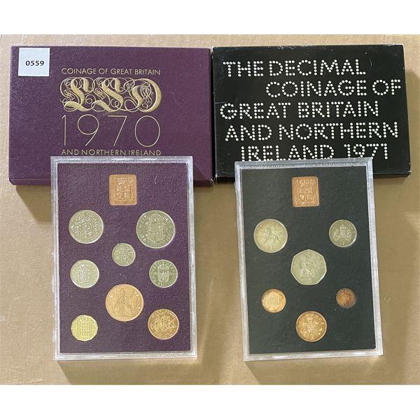 LOT OF 2 - BRITISH PROOF SETS - 1970, 1971